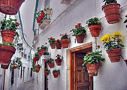 A Typically Decorated Spanish Village Street